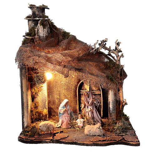Nativity stable with Holy Family jute roof 12 cm Neapolitan nativity 30x35x45 cm 1