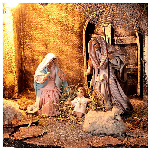 Nativity stable with Holy Family jute roof 12 cm Neapolitan nativity 30x35x45 cm 2