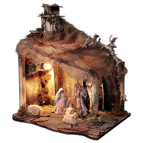 Nativity stable with Holy Family jute roof 12 cm Neapolitan nativity 30x35x45 cm 3