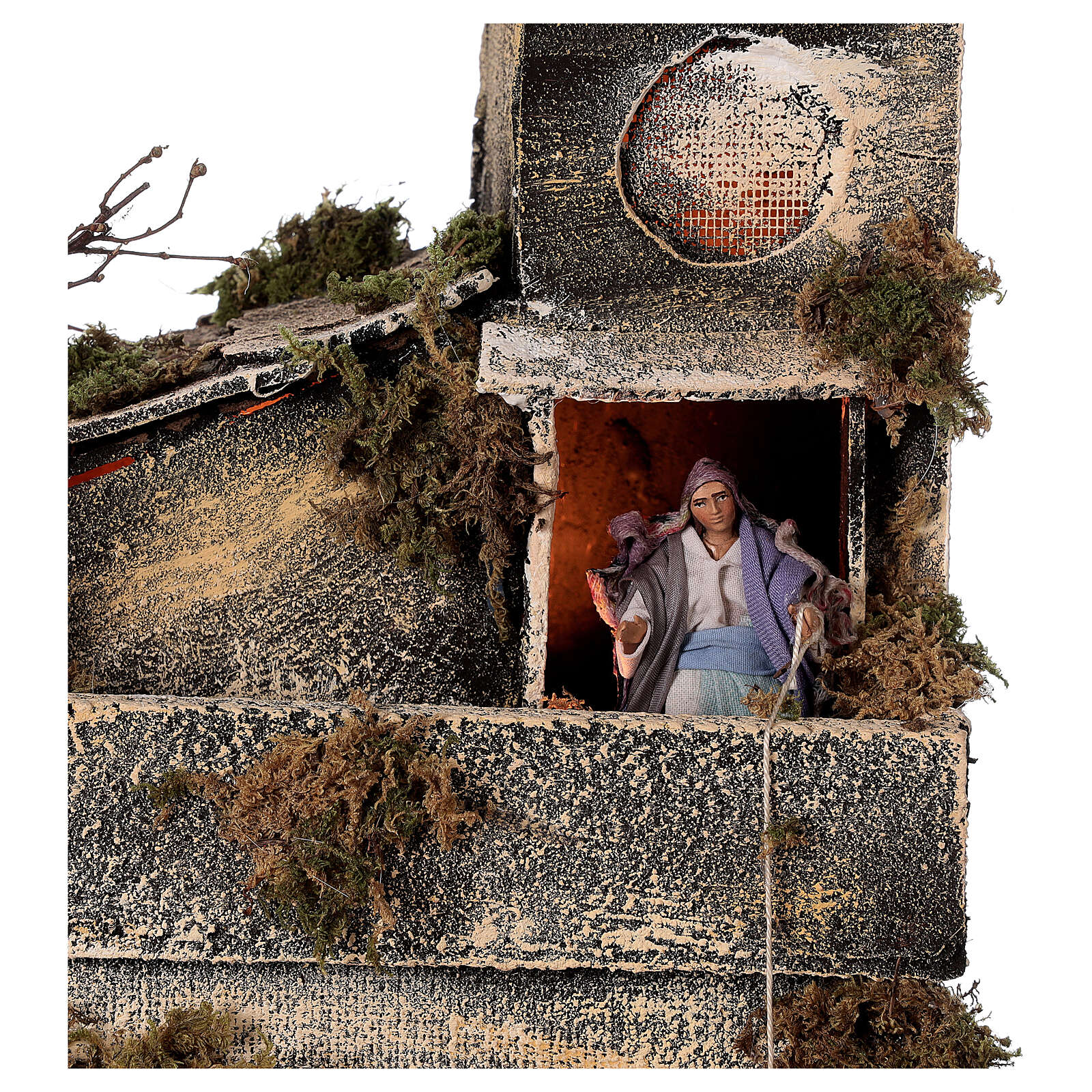 Cabaña con establo belén napolitano estatuas 8 cm 30x50x45 cm 4
