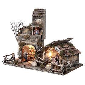 Cabaña con establo belén napolitano estatuas 8 cm 30x50x45 cm s3