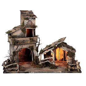 Cabaña con establo belén napolitano estatuas 8 cm 30x50x45 cm s7