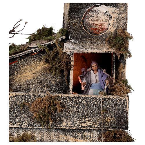Cabaña con establo belén napolitano estatuas 8 cm 30x50x45 cm 6