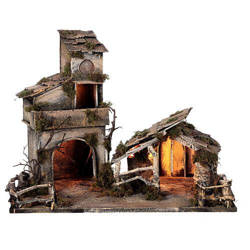 Cabaña con establo belén napolitano estatuas 8 cm 30x50x45 cm 7