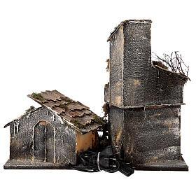 Cabana com estábulo presépio napolitano com figuras altura média 8 cm, medidas: 30x50x45 cm s8