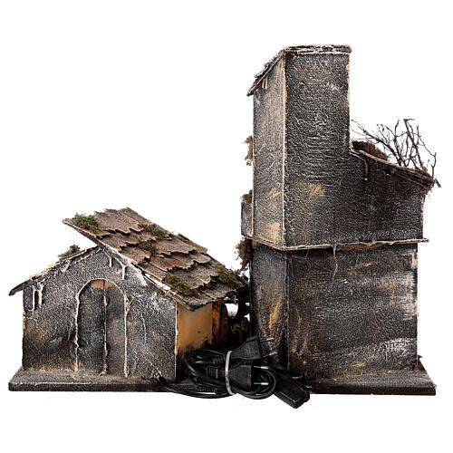 Cabana com estábulo presépio napolitano com figuras altura média 8 cm, medidas: 30x50x45 cm 8
