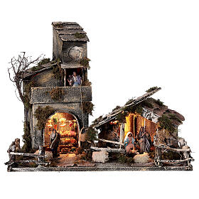Stable with Neapolitan nativity statues 8 cm, 30x50x45 cm s1