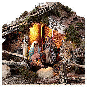 Stable with Neapolitan nativity statues 8 cm, 30x50x45 cm s2