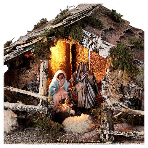 Stable with Neapolitan nativity statues 8 cm, 30x50x45 cm 2