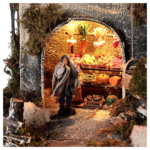 Stable with Neapolitan nativity statues 8 cm, 30x50x45 cm 4