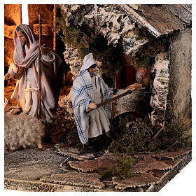 Nativity stable with two ovens 12 cm figurines, Neapolitan nativity 35x40x35 cm s4