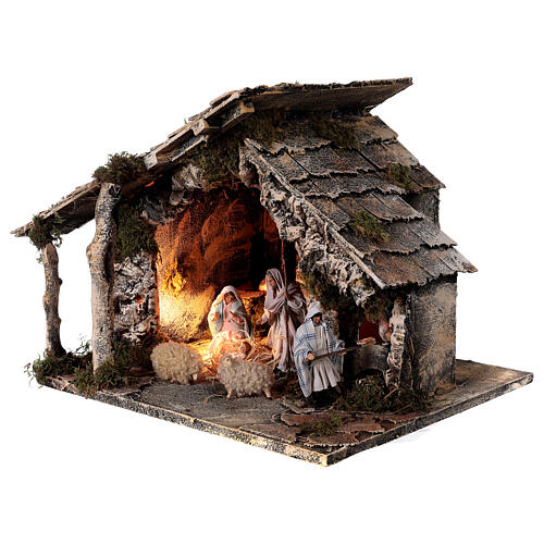 Nativity stable with two ovens 12 cm figurines, Neapolitan nativity 35x40x35 cm 3