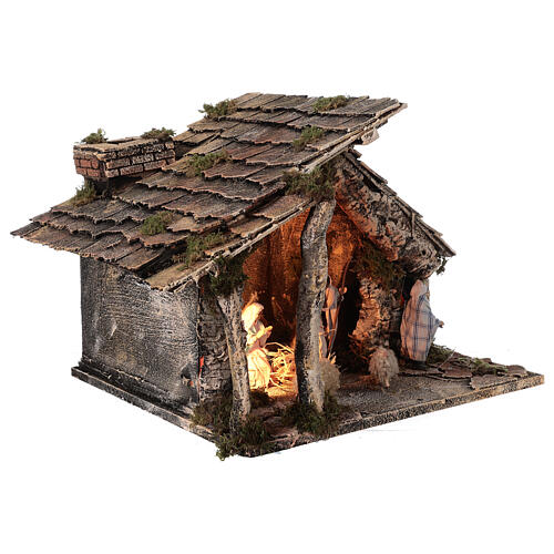 Nativity stable with two ovens 12 cm figurines, Neapolitan nativity 35x40x35 cm 5
