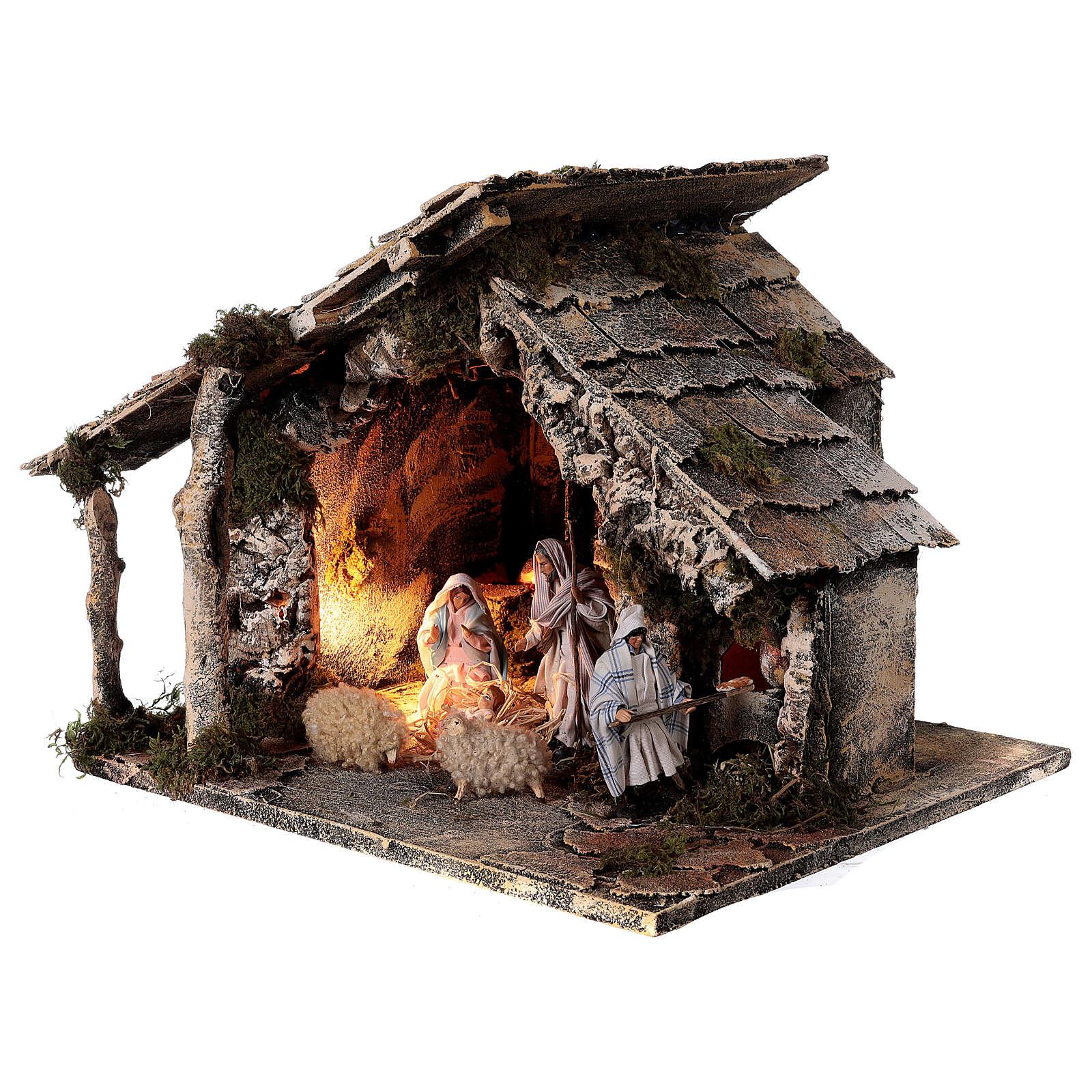 Cabaña dos hornos Natividad estatuas 12 cm terracota belén napolitano 35x40x35 4
