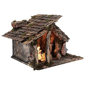 Cabaña dos hornos Natividad estatuas 12 cm terracota belén napolitano 35x40x35 s5