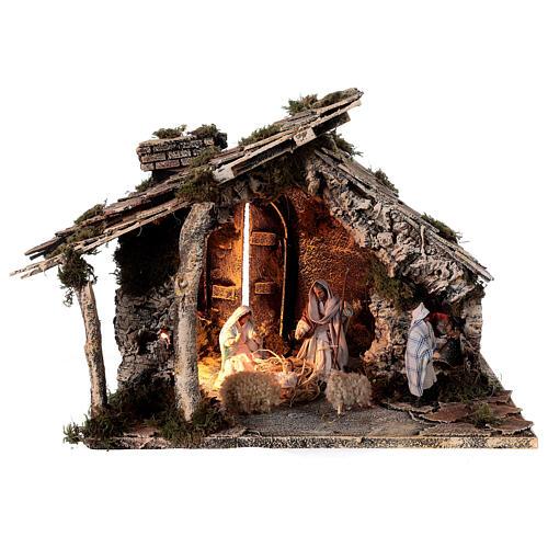 Cabaña dos hornos Natividad estatuas 12 cm terracota belén napolitano 35x40x35 1