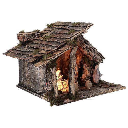Cabaña dos hornos Natividad estatuas 12 cm terracota belén napolitano 35x40x35 5