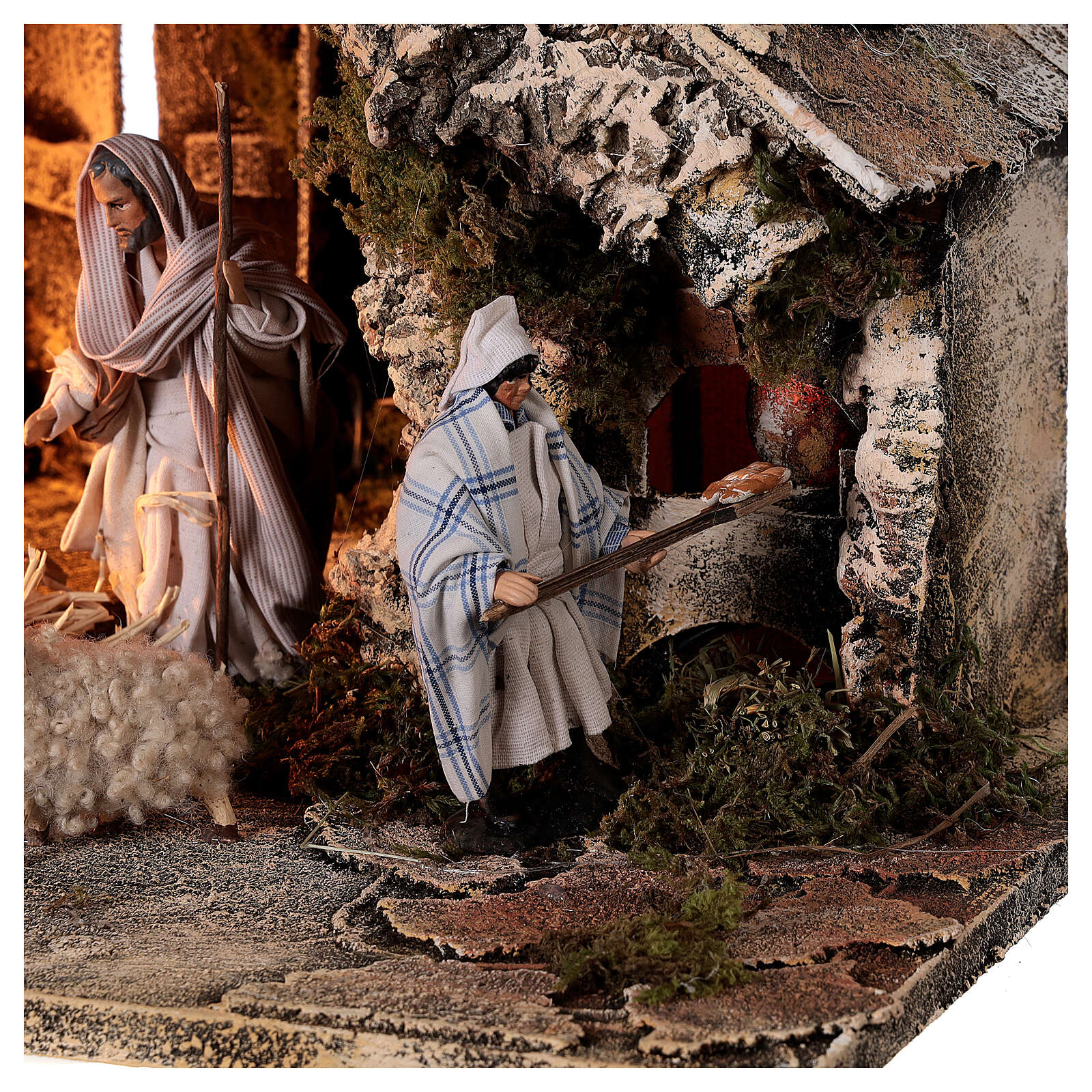 Nativity stable with two ovens, 12 cm terracotta statues Neapolitan nativity 35x40x35 cm 4
