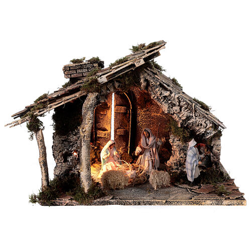 Nativity stable with two ovens, 12 cm terracotta statues Neapolitan nativity 35x40x35 cm 1