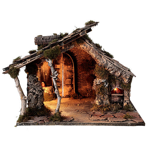 Nativity stable with two ovens, 12 cm terracotta statues Neapolitan nativity 35x40x35 cm 6