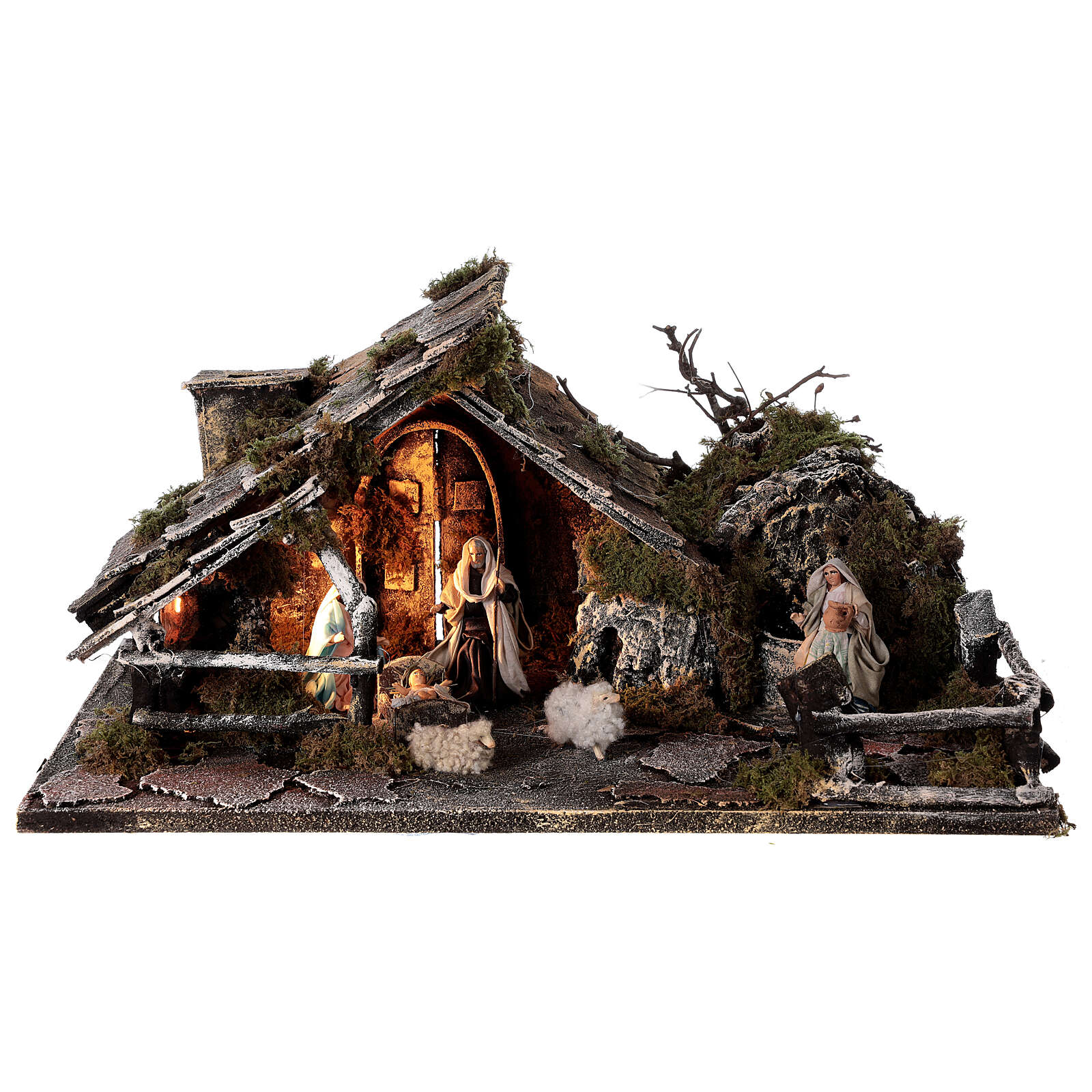 Stable with fountain 8 cm Holy Family sheep 30x45x25 cm Neapolitan nativity 4