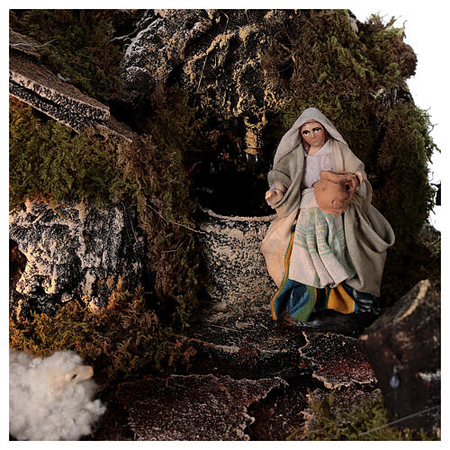 Capanna fontana Natività 8 cm presepe napoletano pecorelle 30x45x25 cm 4