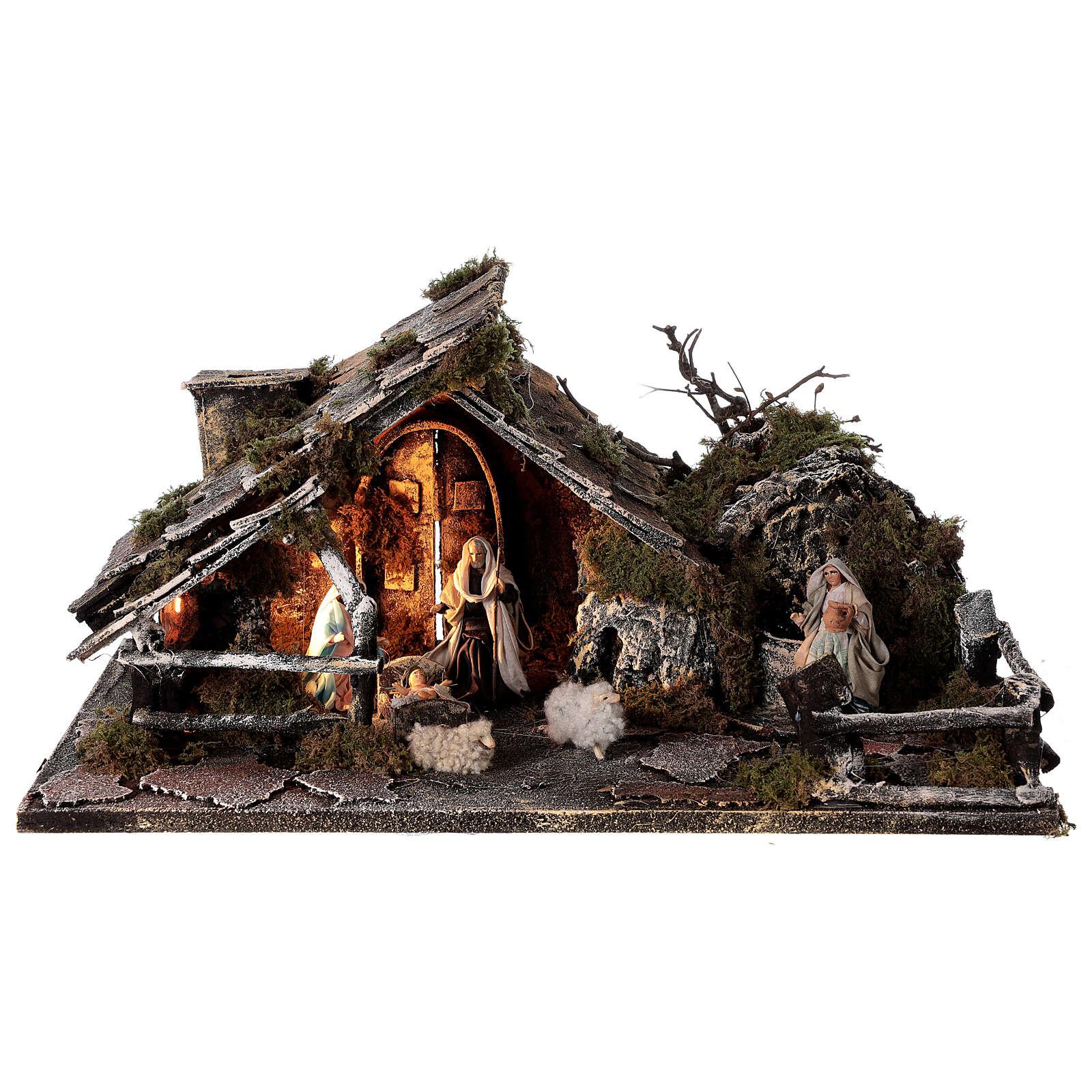 Cabana com fonte, Natividade altura média 8 cm e ovelhas presépio napolitano 30x45x25 cm 4