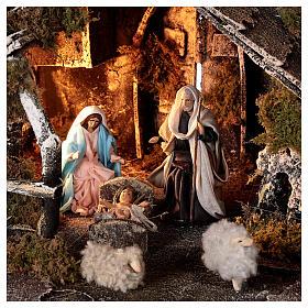 Cabana com fonte, Natividade altura média 8 cm e ovelhas presépio napolitano 30x45x25 cm s2