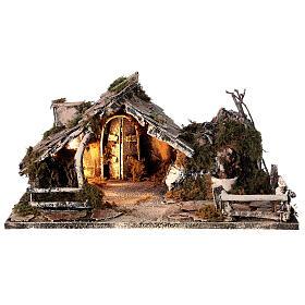 Cabana com fonte, Natividade altura média 8 cm e ovelhas presépio napolitano 30x45x25 cm s7