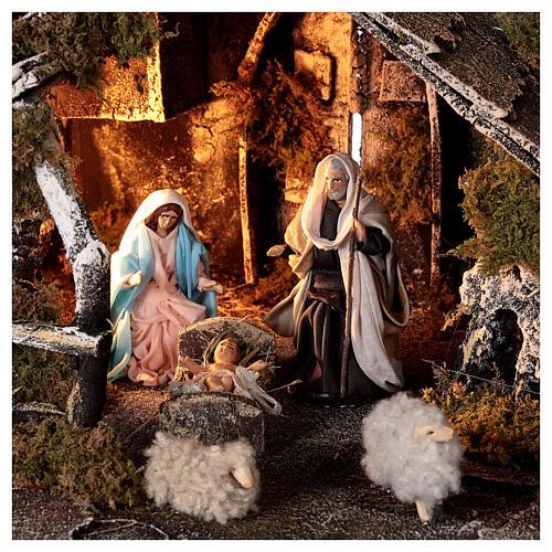 Cabana com fonte, Natividade altura média 8 cm e ovelhas presépio napolitano 30x45x25 cm 2