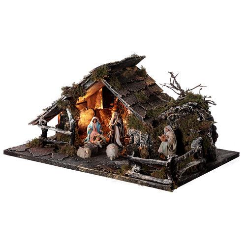 Cabana com fonte, Natividade altura média 8 cm e ovelhas presépio napolitano 30x45x25 cm 3