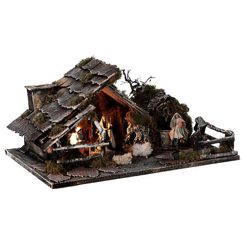 Cabana com fonte, Natividade altura média 8 cm e ovelhas presépio napolitano 30x45x25 cm 5