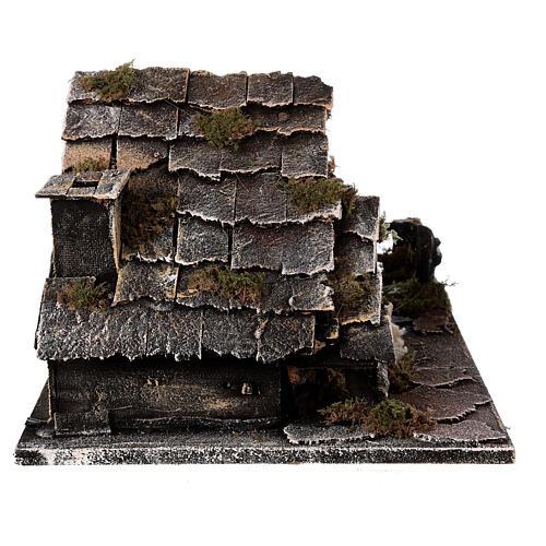 Cabana com fonte, Natividade altura média 8 cm e ovelhas presépio napolitano 30x45x25 cm 6