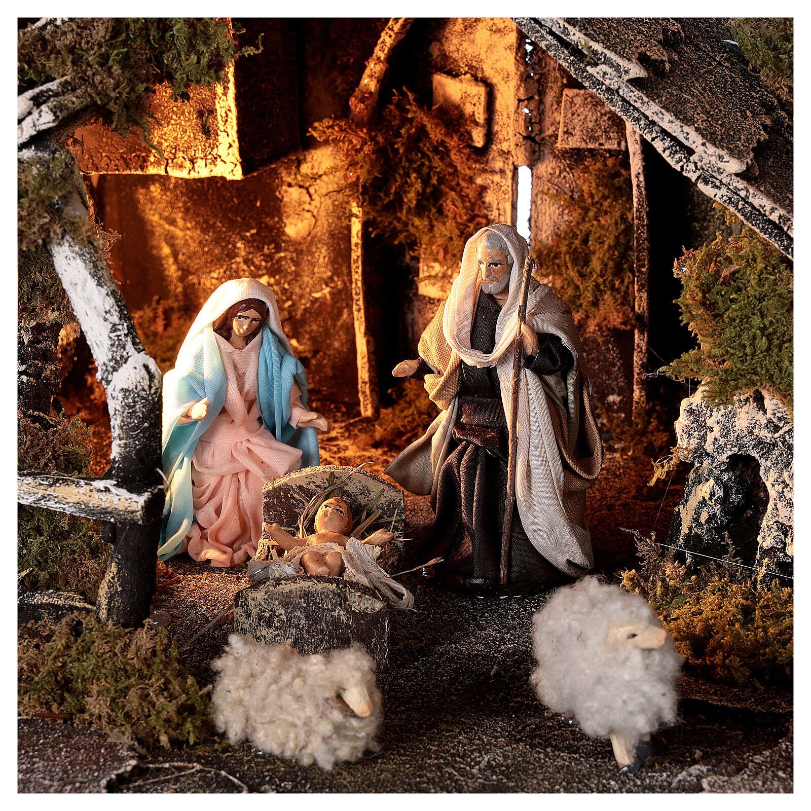 Nativity stable with fountain 8 cm Holy Family Neapolitan nativity sheep 30x45x25 cm 4