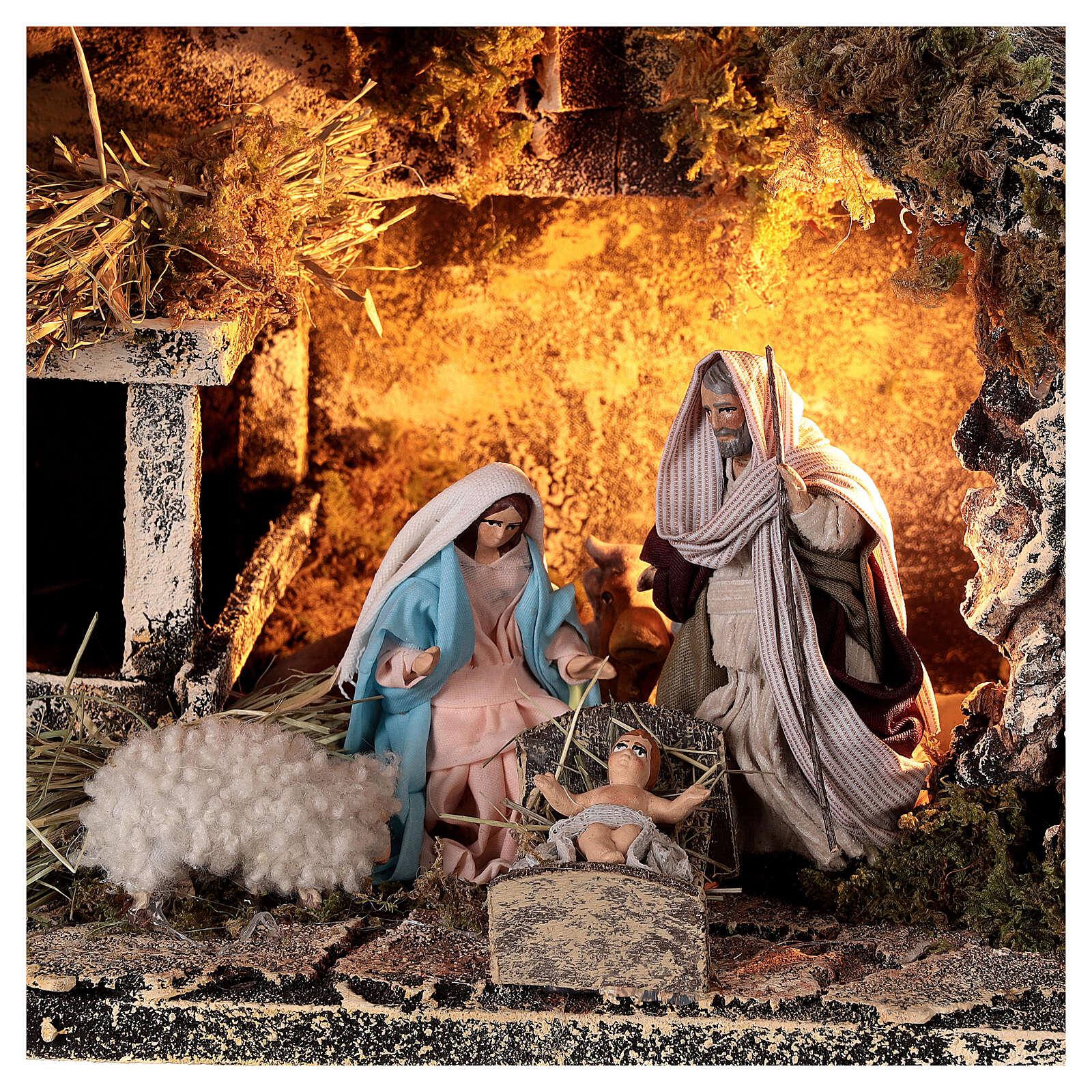 Nativity stable with Holy Family 8 cm terracotta Neapolitan nativity 20x30x20 cm 4