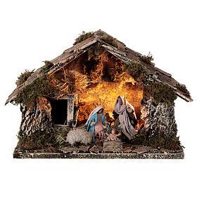 Nativity stable with Holy Family 8 cm terracotta Neapolitan nativity 20x30x20 cm s1