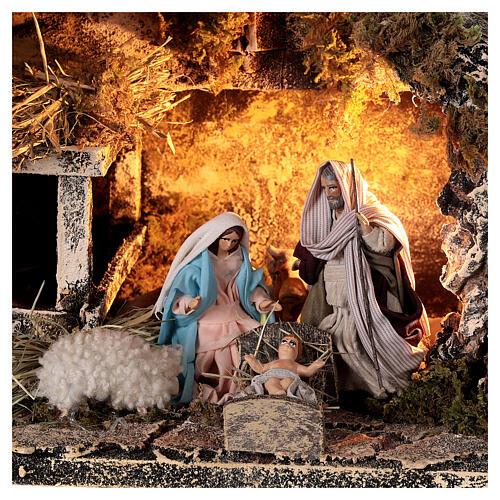Nativity stable with Holy Family 8 cm terracotta Neapolitan nativity 20x30x20 cm 2