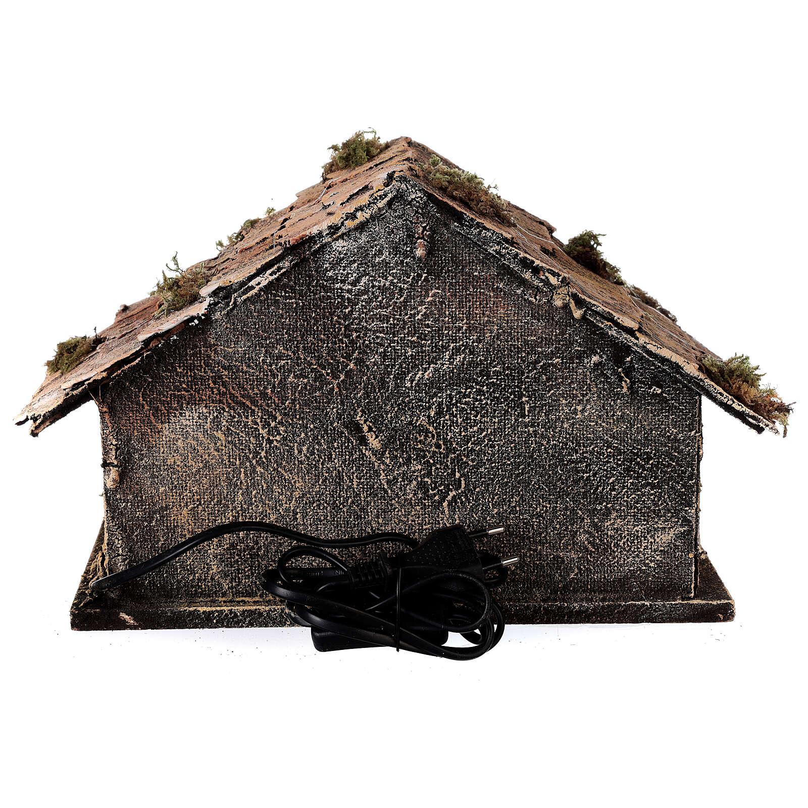 Capanna Natività tipo stalla statue 8 cm terracotta presepe napoletano 20x30x20 4