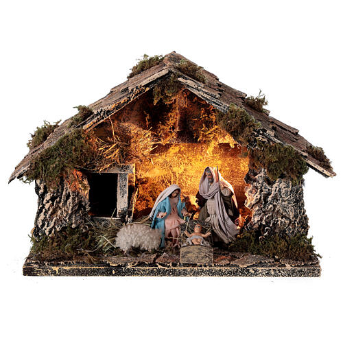Nativity stable with Holy Family 8 cm terracotta Neapolitan nativity 20x30x20 cm 1