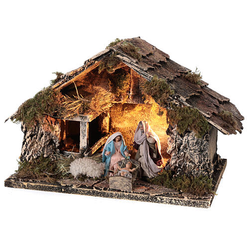 Nativity stable with Holy Family 8 cm terracotta Neapolitan nativity 20x30x20 cm 3