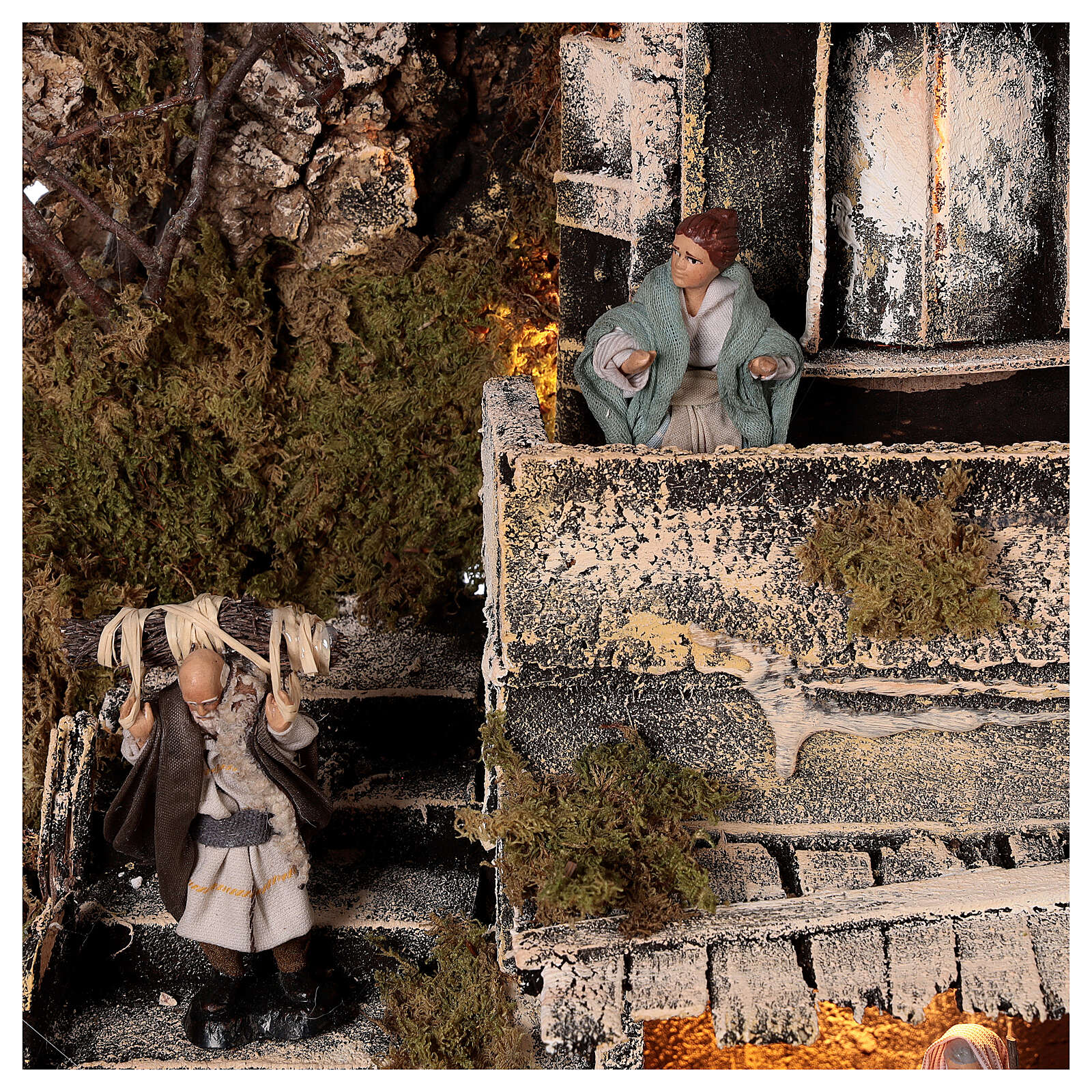 Borgo Natività balcone fontana presepe napoletano statue 8 cm 40x40x40 cm 4