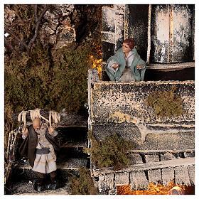 Borgo Natività balcone fontana presepe napoletano statue 8 cm 40x40x40 cm s6