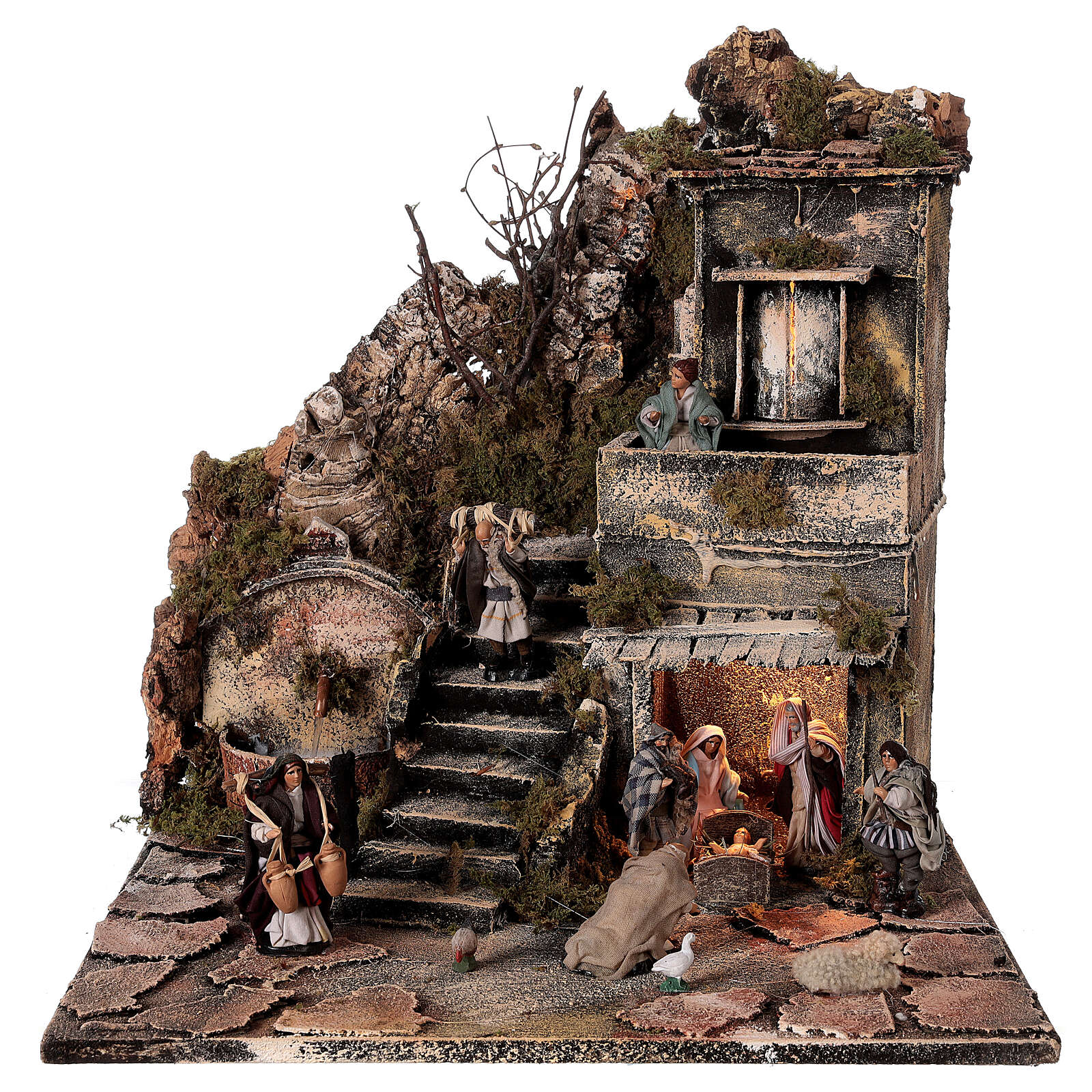 Aldeia Natividade varanda e fonte presépio napolitano figuras altura média 8 cm, 40x40x40 cm 4