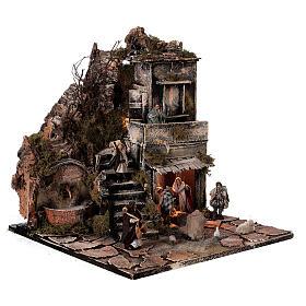 Aldeia Natividade varanda e fonte presépio napolitano figuras altura média 8 cm, 40x40x40 cm s5
