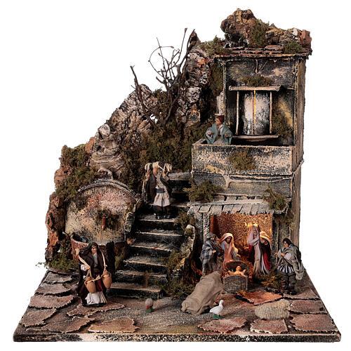 Aldeia Natividade varanda e fonte presépio napolitano figuras altura média 8 cm, 40x40x40 cm 1