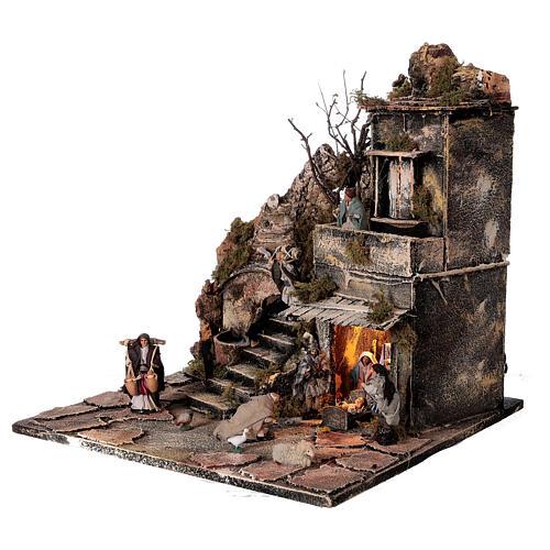 Aldeia Natividade varanda e fonte presépio napolitano figuras altura média 8 cm, 40x40x40 cm 3