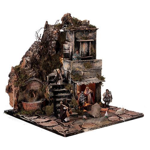 Aldeia Natividade varanda e fonte presépio napolitano figuras altura média 8 cm, 40x40x40 cm 5