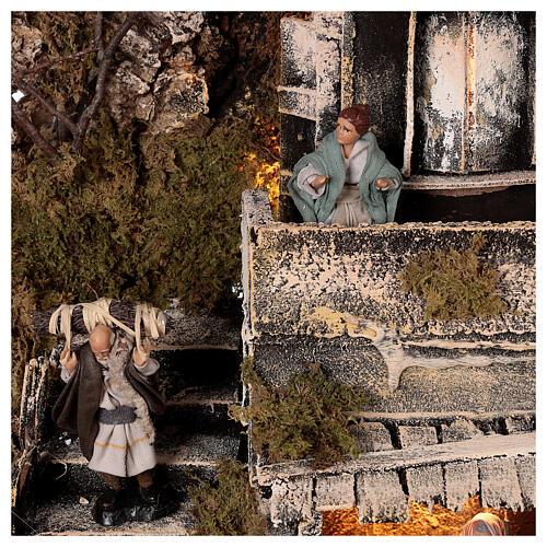 Aldeia Natividade varanda e fonte presépio napolitano figuras altura média 8 cm, 40x40x40 cm 6