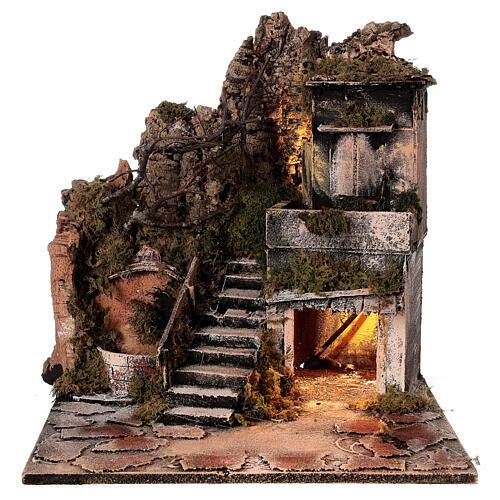 Aldeia Natividade varanda e fonte presépio napolitano figuras altura média 8 cm, 40x40x40 cm 8