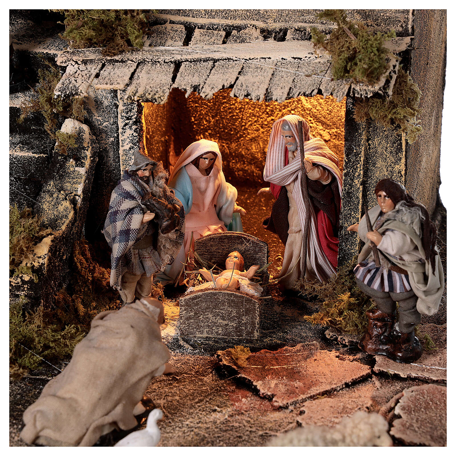 Nativity village with balcony fountain Neapolitan nativity set 8 cm 40x40x40 cm 4